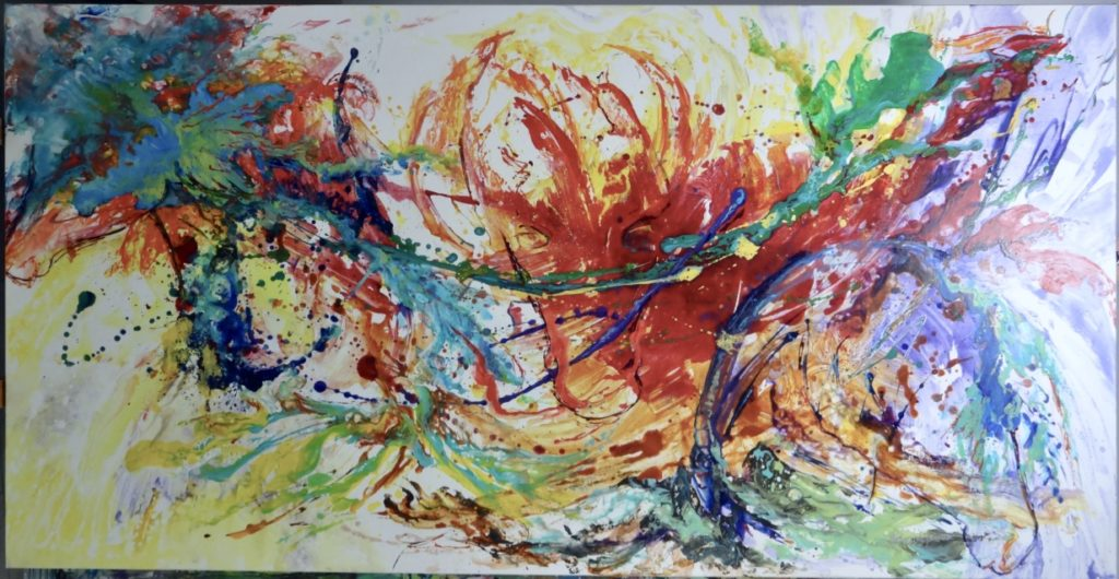 """Riding colors""   Bright rising horses are hidden in this splash of colors, three are obvious ones and just art abstract minds will find with imagination a lot more!"