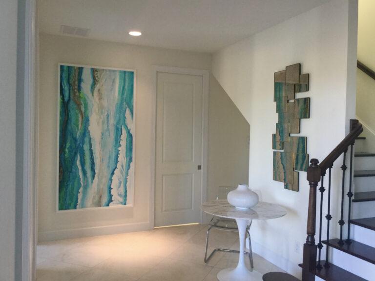 Contemporary aqua plaster on wall